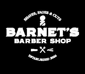 Barnet's Barber Shop logo in white